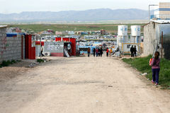 Domeez refugee camp. Domeez, IRAQ – MARCH 8, 2015: Domeez refugee camp for Syrian refugees in North Iraq, Kurdistan Regional Government, Dohuk Governorate Royalty Free Stock Image