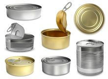 Domein Tin Realistic Set Vector Illustratie