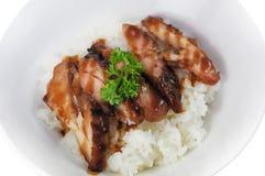 Domein van de varkensvlees het verse witte rijst Stock Afbeelding