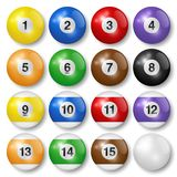Billiard, snooker or pool balls with shadows, isolated on white background. High quality, photorealistic vector illustration. Billiard, snooker or pool balls royalty free illustration