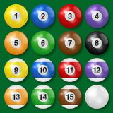 Vector collection of billiard pool or snooker balls with shadows, isolated on green background. Vector collection of billiard pool or snooker balls with shadows royalty free illustration