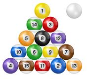 Billiard balls triangle isolated on white background. Three-dimensional and realistic looking vector illustration. Billiard balls triangle isolated on white royalty free illustration