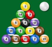 Billiard, pool balls collection. Triangle arrangement. Green background. High quality, photorealistic vector illustration. Billiard, pool balls collection vector illustration