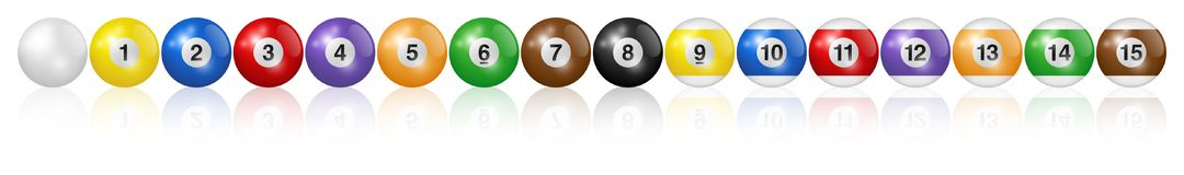 Billiard balls. Vector high quality illustration. Billiard, pool balls collection. Line arrangement. White background. High quality, photorealistic vector royalty free illustration
