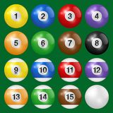 Billiard, pool and snooker balls collection. Set of billiard balls isolated on green background. Vector illustration. Billiard, pool and snooker balls royalty free illustration