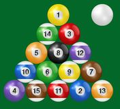 Billiard balls triangle isolated on green background. Three-dimensional and realistic looking vector illustration. Billiard, pool and snooker balls collection stock illustration