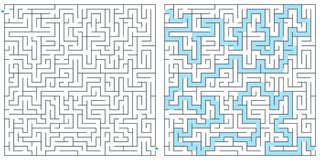 Labyrinth, maze with solution vector illustration. Square maze. High quality vector. Labyrinth, maze and riddle with solution vector illustration. Square maze vector illustration