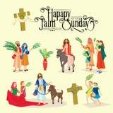 Domenica delle Palme di festa di religione prima di pasqua, celebrazione dell'entrata di Gesù in Gerusalemme, gente felice con illustrazione vettoriale