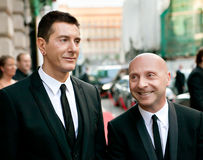 Domenico Dolce and Stefano Gabbana. MOSCOW, RUSSIA - JUNE 24: Stefano Gabbana (left) and Domenico Dolce (right) arrive at the opening of a new boutique Dolce & Stock Photo