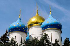 The domes. Of Assumption Cathedral in the Trinity Lavra of St. Sergius, Russia Royalty Free Stock Photography