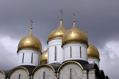 Domes. The Annunciation cathedral. XVI century. Great Princes and Tsars home church. Kremlin. Moscow. Russia royalty free stock photo