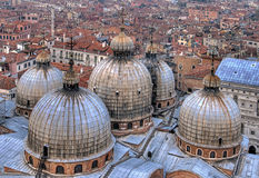 Domes from above, Venice. Domes of basilica San Marco in Venice, Italy royalty free stock images