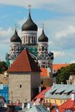 Domes of Alexander Nevsky Orthodox Cathedral in Tallinn, Estonia Royalty Free Stock Photo