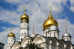 Domes Archangel Cathedral Ivan the Great Belltower Royalty Free Stock Photos