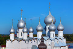 Domes of Assumption Cathedral and church of Resurrection in Rost Stock Photography