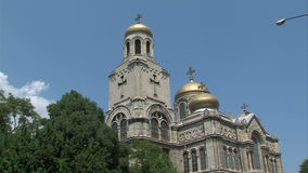 Domes of the Assumption Cathedral in Varna, Bulgaria stock video