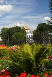 Domes of the Assumption Cathedral in Yaroslavl Royalty Free Stock Image