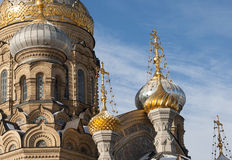 Domes of assumption Church on Vasilievsky island, St. Petersburg Royalty Free Stock Image