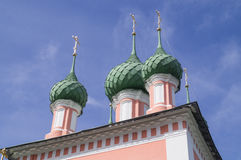 Domes of Beautiful Russian Pink Christian Church Royalty Free Stock Image