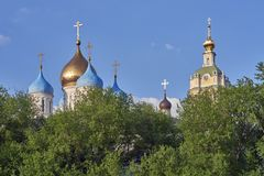 Domes and bell tower. Russia. Moscow. Domes and bell tower of the Novospassky monastery royalty free stock photo