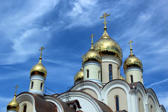 Domes of the Blessed Matrona of Moscow in the process of building and finishing works, Dmitrov district of the city of Moscow Royalty Free Stock Photography