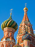 Domes of cathedral. Colorful domes of Saint Basil's Cathedral in Moscow Royalty Free Stock Photography