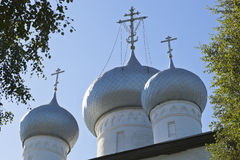 Domes of the Cathedral the Assumption of the Holy Virgin in the town of Belozersk, Vologda Region Royalty Free Stock Photography