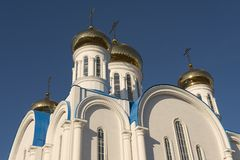 Domes of the cathedral of Astana city, Astana, Kazakhstan. Royalty Free Stock Photos