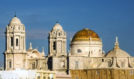Domes of the Cathedral of Cadiz. In a sunny day Royalty Free Stock Photos