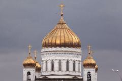 Domes of the Cathedral of Christ Saviour in Moscow Stock Photo