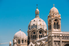 Domes of Cathedral de la Major in Marseille, France. Sunny summe Stock Photos