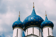 Domes of the Cathedral of the Nativity of the. The Cathedral of the Nativity of the Theotokos in Suzdal Russia is a World Heritage Site. Built in 1225 Stock Photos