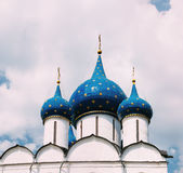 Domes of the Cathedral of the Nativity of the Theotokos in Suzdal. The Cathedral of the Nativity of the Theotokos in Suzdal Russia is a World Heritage Site Stock Photography