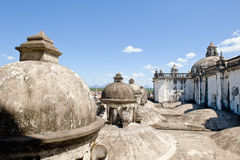 Domes on cathedral roof. Close up of decorative domes on cathedral roof, Leon city, Nicaragua Royalty Free Stock Photos