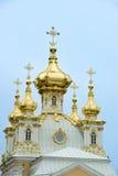 Domes Chapel Peterhof, St. Petersburg. Domes of the east chapel of Peterhof, St. Petersburg, Russia, known as Russian Versailles stock photos