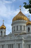 Domes of Christ the Savor cathedral in Moscow stock photography