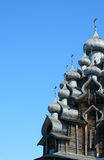 Domes of christian church. Domes of wooden christian church, Kizhi island northern Russia Stock Photo