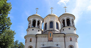 Domes of Christian church of the Ascension in Zvenigorod, Russia. On a sunny day Royalty Free Stock Images