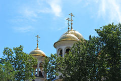 Domes of Christian church of the Ascension in Zvenigorod, Russia. On a sunny day Royalty Free Stock Photo