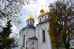 Domes of Christian church. Golden domes of the Christian church of the 18th century Royalty Free Stock Photos