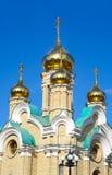 Domes of  christian temple. Fane of Saint Ioann Krestitel Omsk.Russia Stock Photos