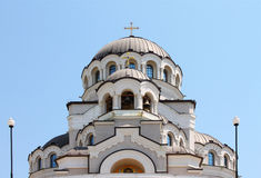 Domes of Christian temple. Domes of Cathedral of Holy Face of Christ the Saviour in the city of Sochi Stock Photo