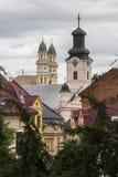 Domes of the church above the roofs of Uzhhorod. Ukraine stock image