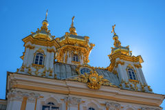 The domes of the church building. The domes are covered with gilding, they are crowned with crosses. Petergof, Russia Stock Images
