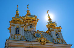 The domes of the church building. The domes are covered with gilding, they are crowned with crosses. Petergof, Russia Stock Photography