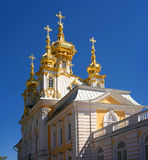 The domes of the church building. Petergof, Russia Royalty Free Stock Image