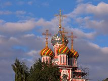 Domes of Church of the Nativity of the Blessed Virgin Mary. stock image