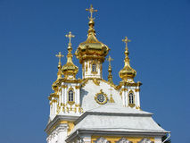 The domes of the Church in Peterhof. Russia. The domes of the Church in Peterhof (suburb of St. Petersburg). Landmark. Tourist attraction. Historic monument Stock Images