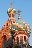 Domes of the Church of the Savior on Spilled Blood royalty free stock photos