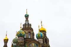 Domes of Church on spilled Blood in St. Petersburg, Russia. Royalty Free Stock Photo